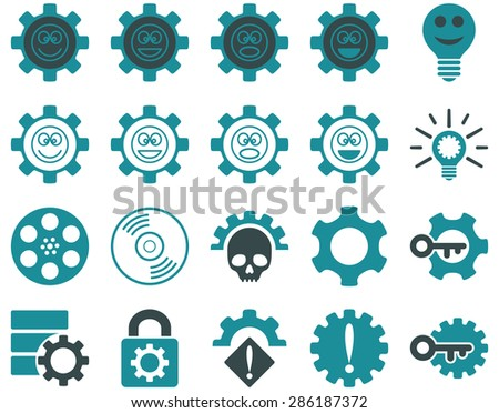Tools and Smile Gears Icons. Vector set style: bicolor flat images, soft blue colors, isolated on a white background.