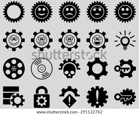Tools and Smile Gears Icons. Vector set style: flat images, black color, isolated on a light gray background.