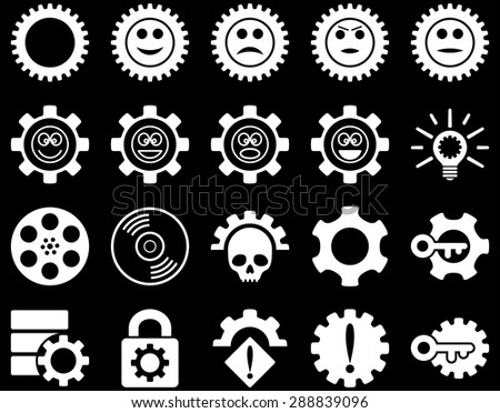 Tools and Smile Gears Icons. Vector set style: flat images, white color, isolated on a black background.