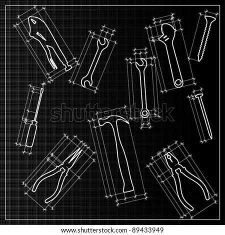 tools background sketch, vector - stock vector