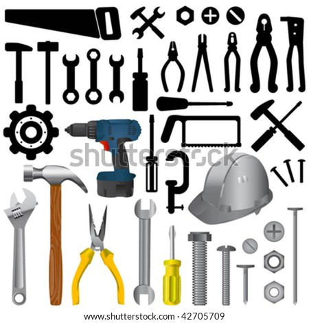 tools big set - stock vector
