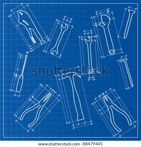 Tools blueprint sketch vector stock vector hd royalty free tools blueprint sketch vector malvernweather Choice Image