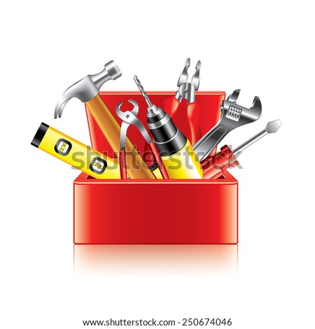 Tools box isolated on white photo-realistic vector illustration - stock vector