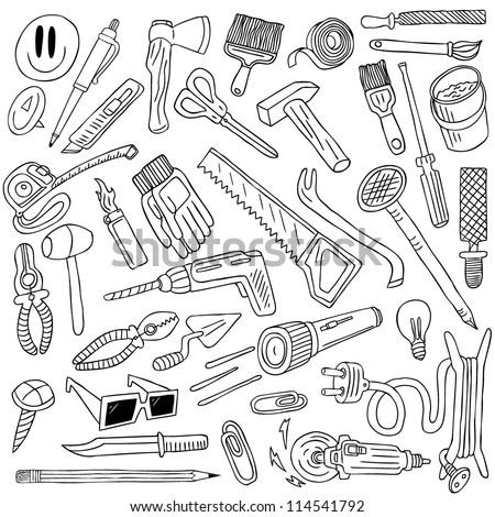 tools doodles collection - stock vector