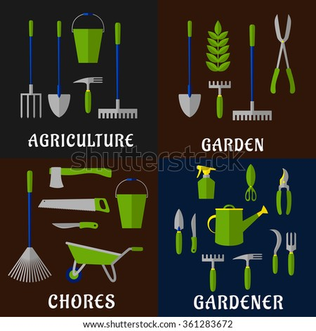 Tools for gardening and agriculture work with flat icons of shovels, rakes, pitchfork, buckets, axe, saw, shears, green plant, watering can, spray bottle, weeding hoes, sickle and wheelbarrow - stock vector