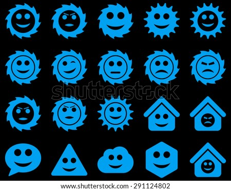 Tools, gears, smiles, emotions icons. Vector set style: flat images, blue symbols, isolated on a black background. - stock vector