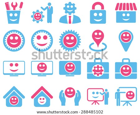 Tools, gears, smiles, management icons. Vector set style: bicolor flat images, pink and blue symbols, isolated on a white background.