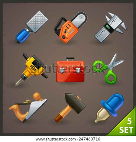 tools icon set-5 - stock vector