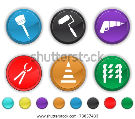 tools icons,each color icon is set on a different layer,easy to edit or to re size - stock vector