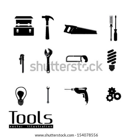 tools icons over white background vector illustration  - stock vector