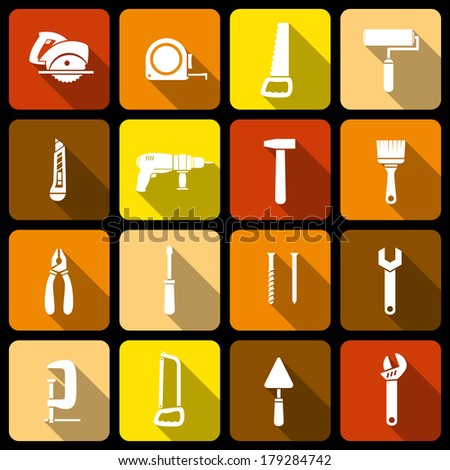 Tools icons set of wrench hammer spanner and screw isolated vector illustration - stock vector