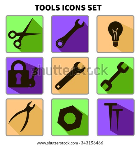 Tools icons set. Tongs, wrench key, hammer, screw bolt, nut, scissors, key. Repair tools. Flat icons with long shadow. Vector illustration - stock vector