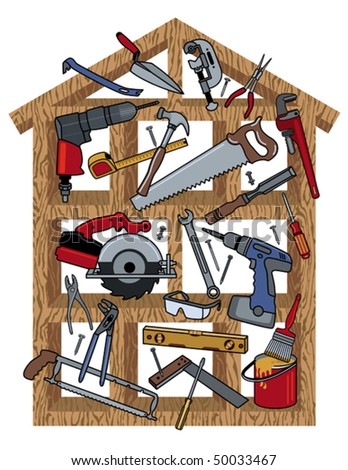 Tools in a wood frame house. Tools are individually grouped. Frame is on separate layer. - stock vector