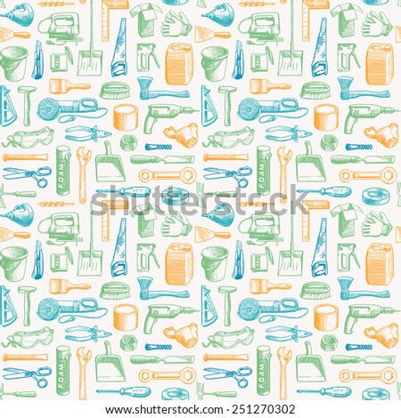 Tools Instruments Seamless Pattern Vector - stock vector