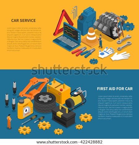 Tools isometric banner set with various kits of instruments used in car service vector illustration - stock vector