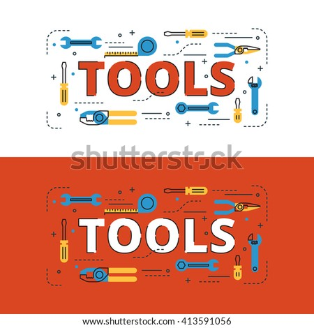 Tools lettering flat line design with icons and elements for book cover, report header, presentation,illustration, infographics, printing, website banner and landing page. - stock vector
