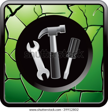 tools on green cracked web button - stock vector