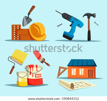 Tools Or Accessories For House Building, Construction Repair. Drill And  Hammer, Trowel Or