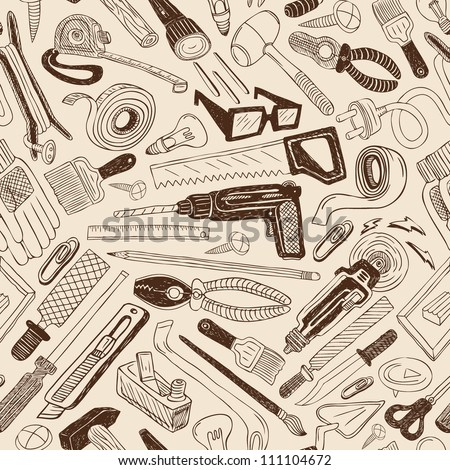 tools seamless background - stock vector