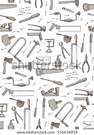 tools, seamless pattern - stock vector