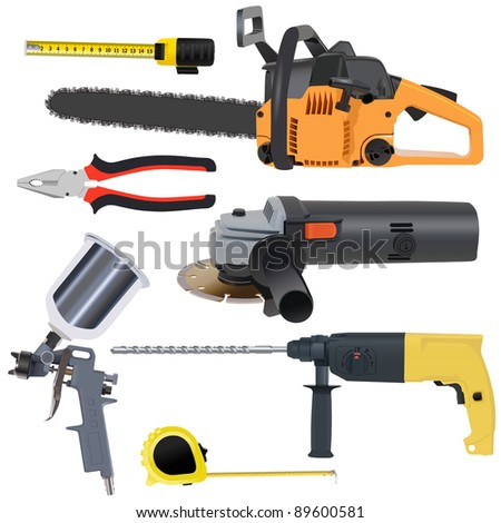 tools set on a white background