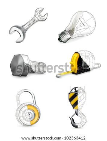 Tools set, vector - stock vector