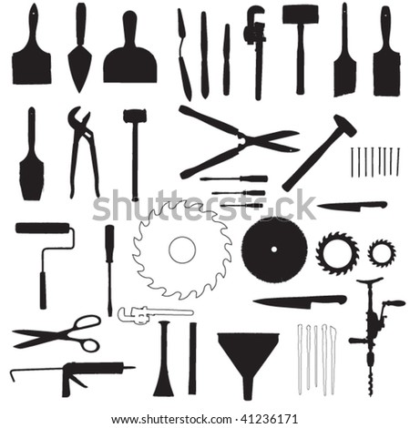 tools silhouette set 2 - stock vector