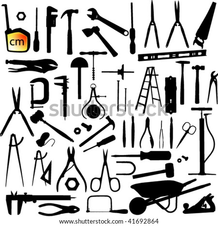 tools silhouette set - stock vector