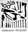 tools silhouettes - stock photo