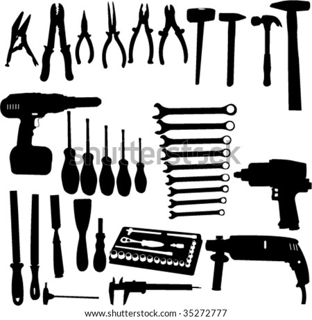 tools silhouettes collection - vector