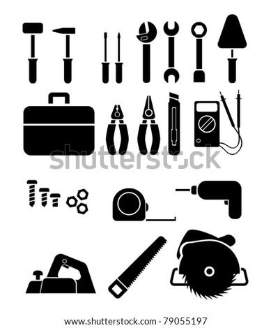 Tools. Vector icon set - stock vector