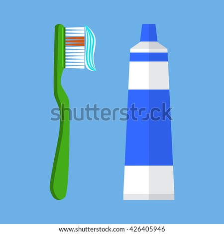 Tooth brush vector illustration. Tooth brush isolated on blue background. Tooth brush vector icon illustration. Tooth brush isolated vector. Tooth brush silhouette - stock vector