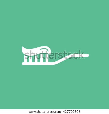 Tooth Brush With Toothpaste Flat Icon On Green Background - stock vector