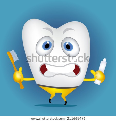 Tooth cartoon holding toothbrush and toothpaste