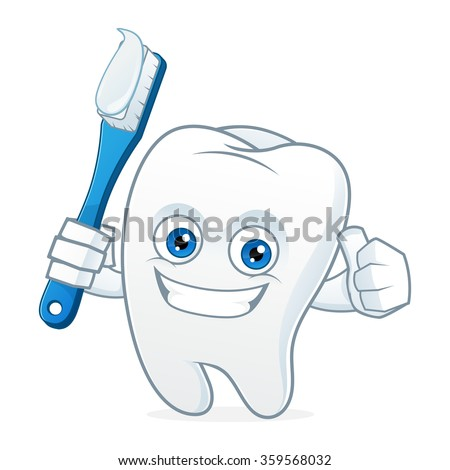 Tooth cartoon mascot brushing teeth - stock vector