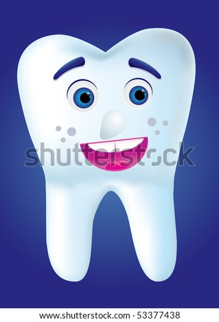 Tooth-cartoon smile to you, vector illustration - stock vector