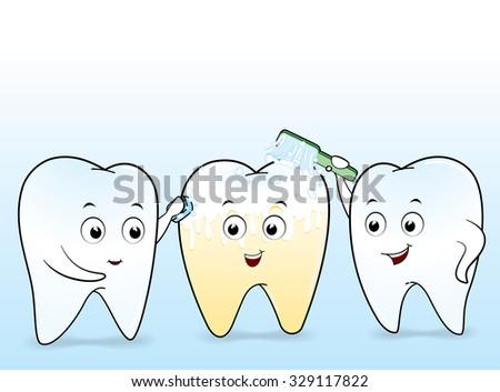 Tooth Cartoon Vector  - stock vector