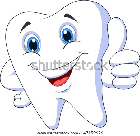 Tooth cartoon with thumb up - stock vector