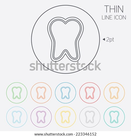 Tooth enamel protection sign icon. Dental toothpaste care symbol. Healthy teeth. Thin line circle web icons with outline. Vector - stock vector