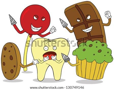 tooth enemies - stock vector