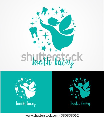 Tooth Fairy with magic wand - make a wish icon and symbol - stock vector