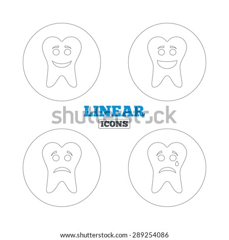 Tooth happy, sad and crying faces icons. Dental care signs. Healthy or unhealthy teeth symbols. Linear outline web icons. Vector - stock vector