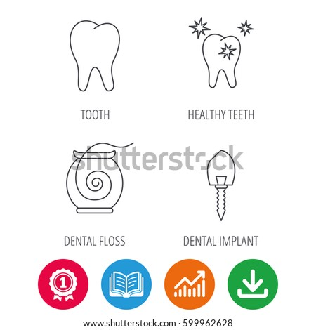 tooth healthy teeth and dental implant icons dental floss linear sign award medal
