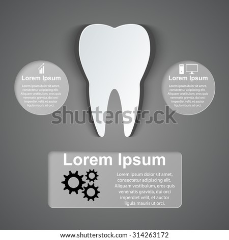 Tooth icon. Abstract 3D digital illustration Infographic. - stock vector