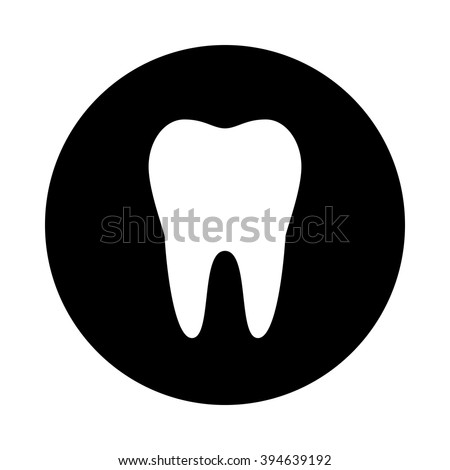 Tooth icon. Black round icon isolated on white background. Tooth silhouette. Simple circle icon. Web site page and mobile app design element. - stock vector