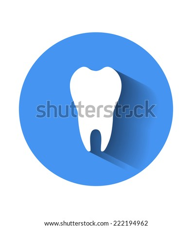 Tooth icon in blue - stock vector