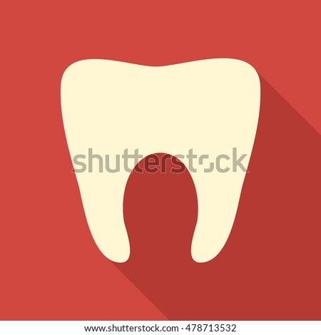 tooth icon or button in flat style with long shadow, isolated vector illustration on red transparent background