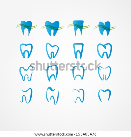 tooth icon set - stock vector