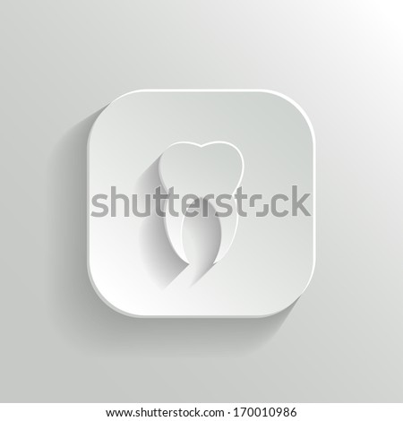 Tooth icon - vector white app button with shadow - stock vector