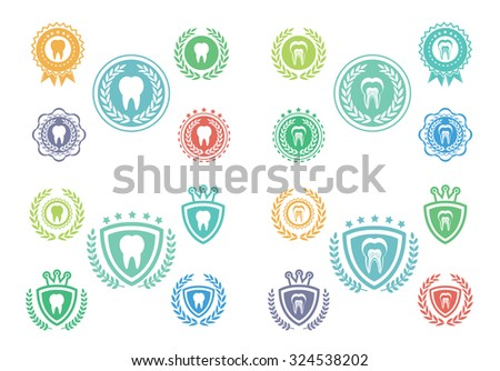 Tooth icons set - stock vector